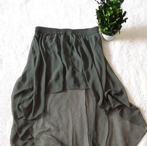 FOREVER 21 aymmetrical skort skirt w/short green